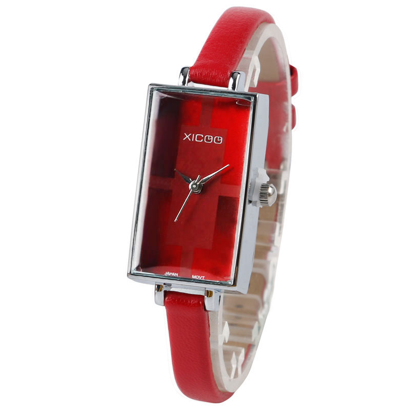 2019 New Arrival Luxury Women Red Watches Fashion Casual Quartz Ladies Wristwatch Leather Modern Rectangle Small Dial Gifts