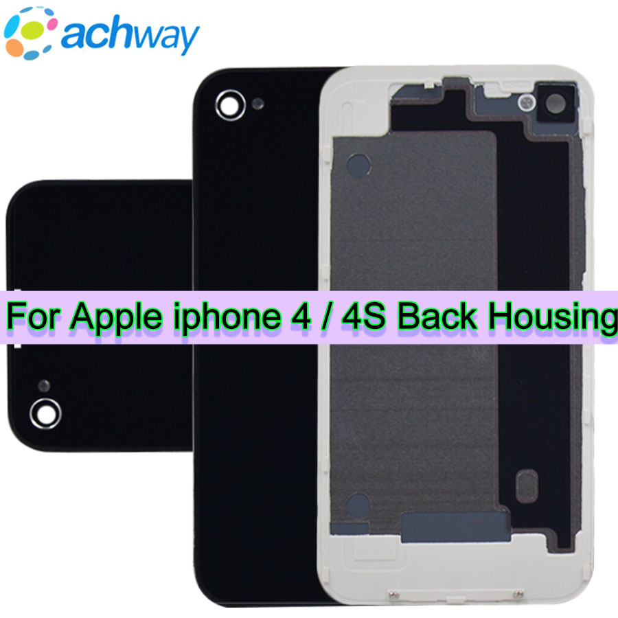 7542a89cb9678d Housing For iPhone 4/4S Back Battery Cover Housing Door Rear Panel Glass  For Apple