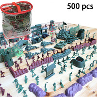 Plastic 500pcs Soldier Action Figure Set Toy Military Blockhouse Tank Motorcycle Cannon Flag Gun Model Toys For Children Gift