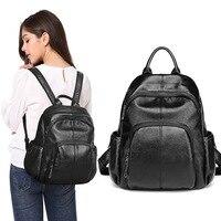 2019 New Women's Genuine Leather Backpack Female Designer Black Backpacks Women High Quality Bagpack Rugzak