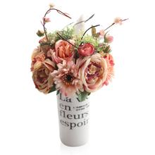 Creative Artificial Flowers Gerbera Rose Bouquet Brial Flower Bunch Simulation Silk Fake Flower Wedding Home Decorations(China)