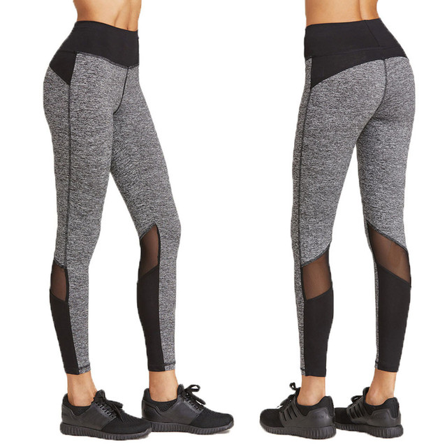 Drop Shipping Mesh Patchwork Yoga Running Pants Dance Cropped Leggings Sexy See Through Yoga Pantnlon