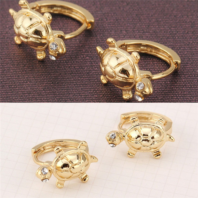 Toddler Girls Kids Solid Gold Color Cute Turtle HoopPiercing Copper