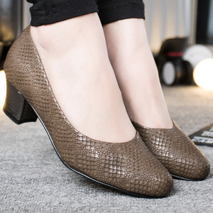 Image 5 - ROYYNA 2017 Popular Style Women Pumps Square Heels Ladies Shoes Serpentine Upper Material Women Shoes Shallow Women Casual Shoes