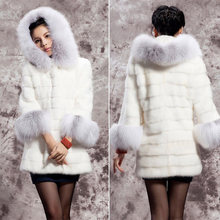 2016 Winter Women's Jackets Warm Thick Fox Fur Coat Jackets Outerwear Woman's Clothing White M-XXL