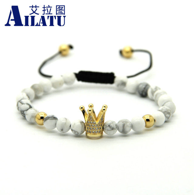 Ailatu 6mm White Howlite Marbel Sediment Stone Beads Crown Braided CZ beads Bracelets Pulseira Hombres