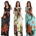 Vestido de praia Plus Size 6XL Vestidos Mulheres Bohemian Floral De Seda Com Decote Em V Vestido Maxi Ocasional Vestido de Verão Roupas Casuais Vestido C99