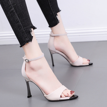 Liren 2019 Summer New Fashion Sexy Lady Buckle Sandals Pointed Open Toe Thin High Heels Shallow Casual Comfortable Women