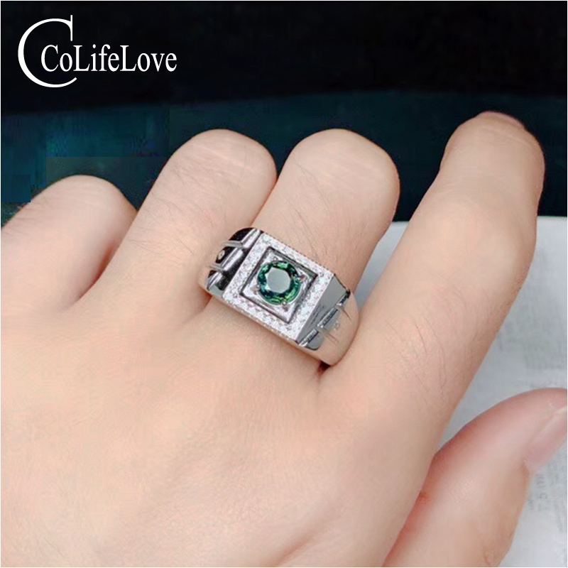100% Real Natural Green-blue Sapphire Man Ring 6 mm Sapphire Ring for Man Fashion 925 Silver Man Ring Birthday Gift for Man man