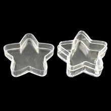 60Pcs/lot Wholesale Small Acrylic Clear Storage Boxes Star Pentacle Shape Display Container Carrying Case 36x35x16mm