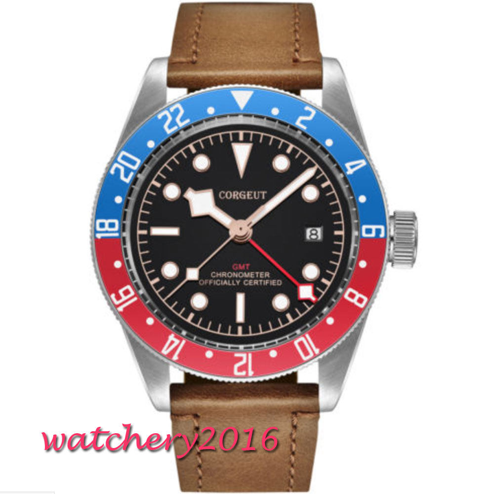 41mm Corgeut Black Dial Sapphire Blue & Red Bezel Super LUME Date Leather GMT Automatic movement men's Watch relogio masculino все цены