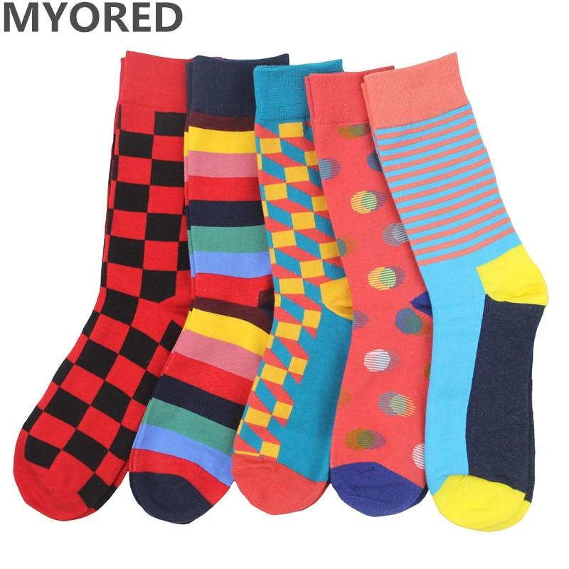 MYORED 2018 Fashion Free Shipping Combed Cotton Brand New Men Socks Colorful Dress Socks Wedding Sock Business Sock 5 Pairs/Lot