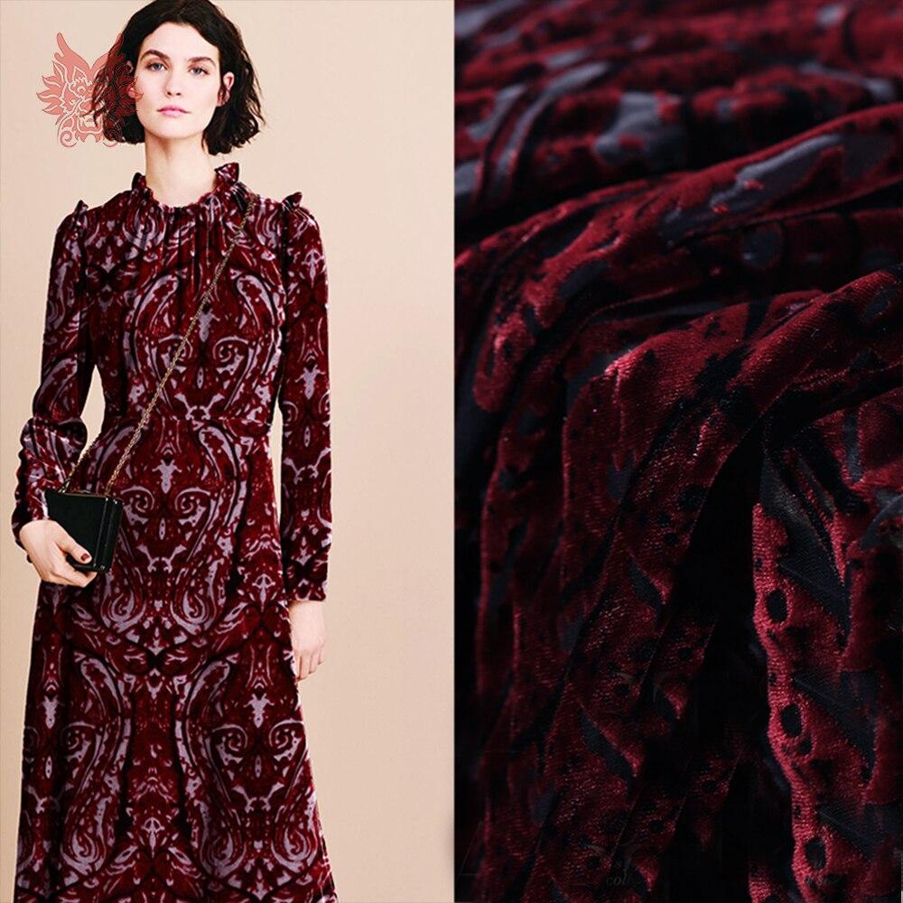 Tissu velours rayonne flocage tissu de soie pour robe rouge foncé floral tissu de soie tissu tecidos stoffen livraison gratuite SP4654