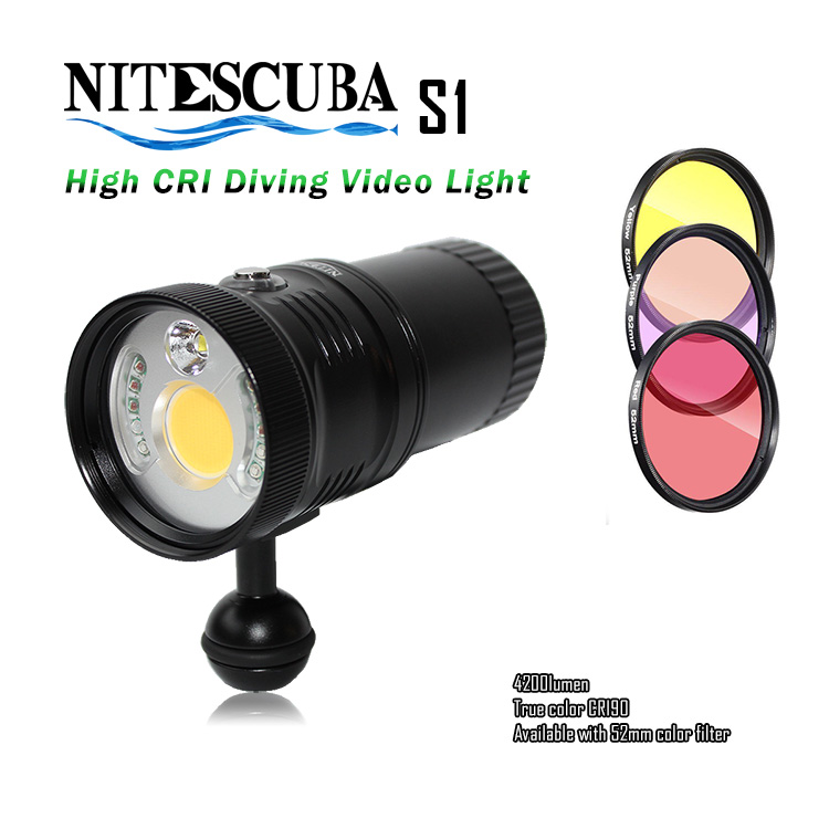 US $499 0 |NiteScuba diving spotting video light S1 4200lm RED UV light for  camera housing underwater photography-in Flashes from Consumer Electronics