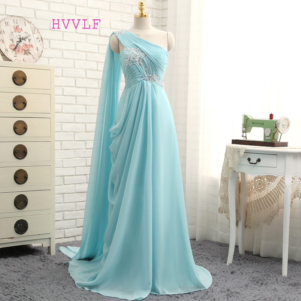 New Turquoise   Evening     Dresses   2019 A-line One-shoulder Chiffon Beaded Crystals Long   Evening   Gown Prom   Dress   Prom Gown