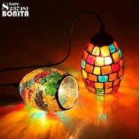 Kleine Größe Böhmischen Stil Bunte Mosaik Glas Shell Anhänger Licht Café Restaurant lampe-in Pendelleuchten aus Licht & Beleuchtung bei