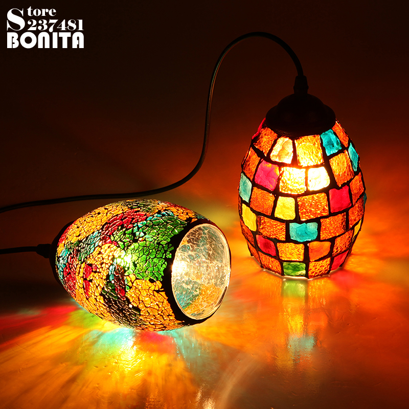 Small Size Bohemian Style Colorful Mosaic Glass Shell Pendant Light Cafe Restaurant lamp 1pc bohemian style colorful butterfly earrings