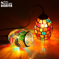 Small Size Bohemian Style Colorful Mosaic Glass Shell Pendant Light Cafe Restaurant lamp