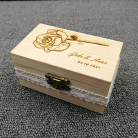 Personalized Gift Rustic Wedding Ring Bearer Box Custom Engraving Rose Your Names And Date Engrave Wood