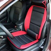 Plüsch Autositzbezüge mit Lenden und Nackenstütze Red & grau Farbe Komfortabel und atmungsaktiv Abdeckung Lumbar Kissen für Autositz