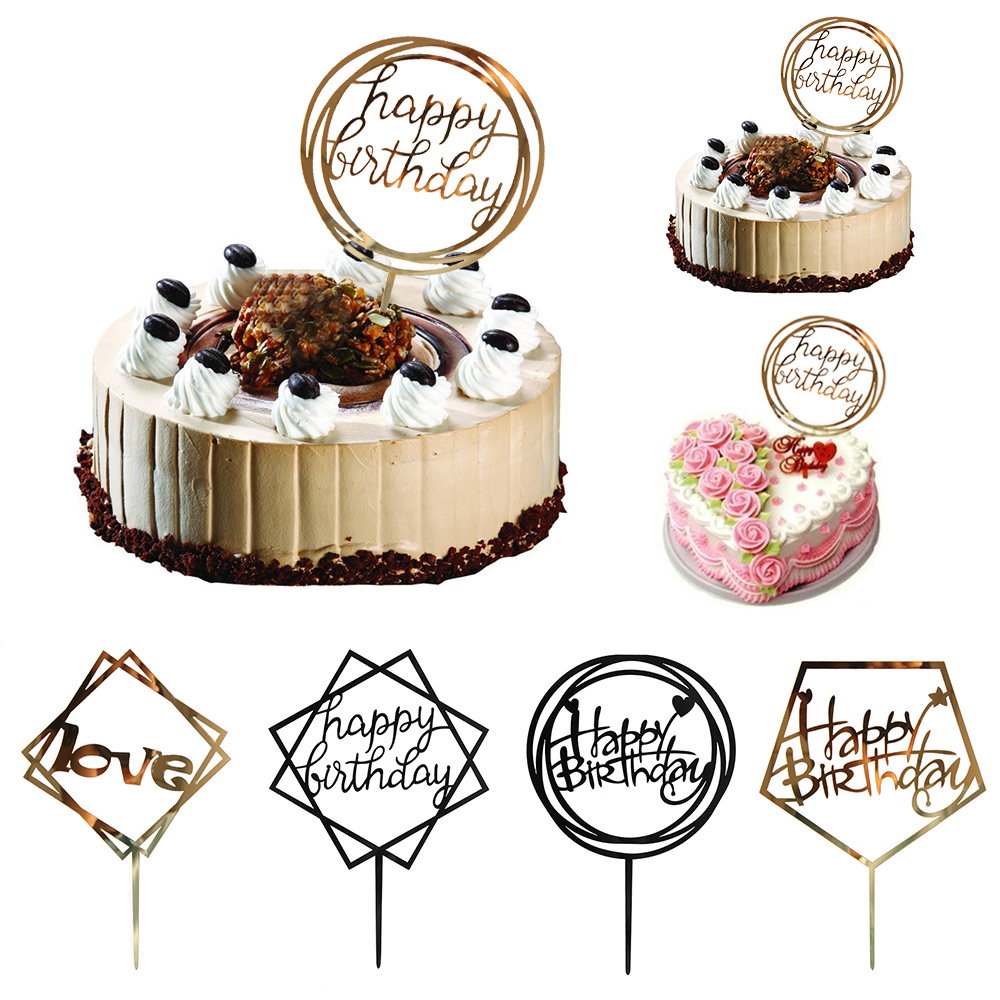 1PC Various Styles Love Happy Birthday Gold Cake Topper Card Acrylic ...