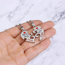 2PC/Set Big Sis Lil Sis Big Sister Little Sister Best Sister Forever Broken Heart Pendant Necklace S