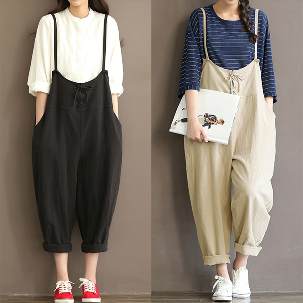 2018 New Women Solid Oversized Rompers Casual Loose Pockets Sleeveless Backless Jumpsuit Plus Size Bib Trousers Ladies Overalls