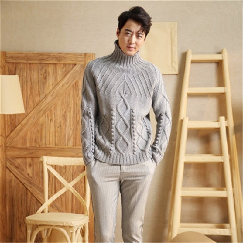 100% Hand Made Pure Wool Turtleneck Knit Men Fashion Twisted Solid H-straight Loose Pullover Sweater One&over Size