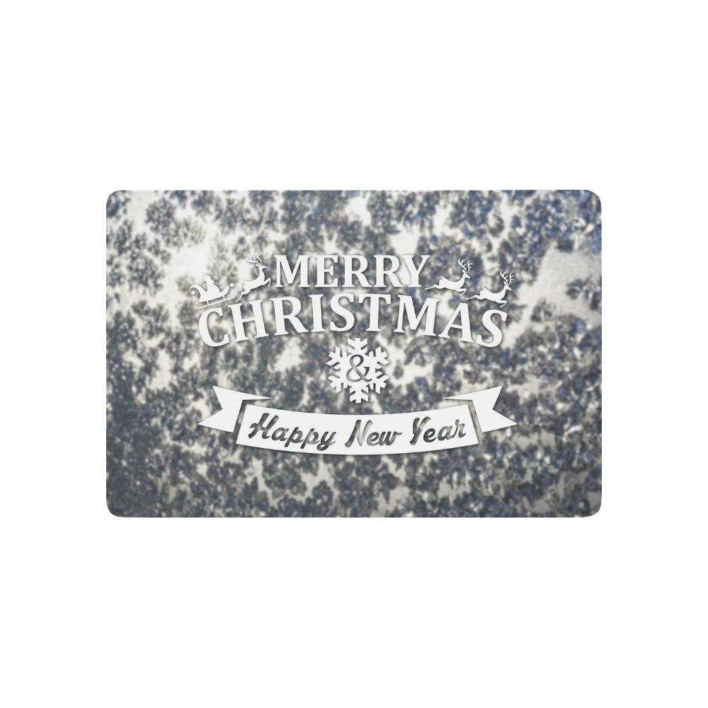 Blurred Frozen Winter Silver Anti-slip Door Mat Home Decor, Merry Christmas Gift Indoor Outdoor Entrance Doormat Rubber Backing