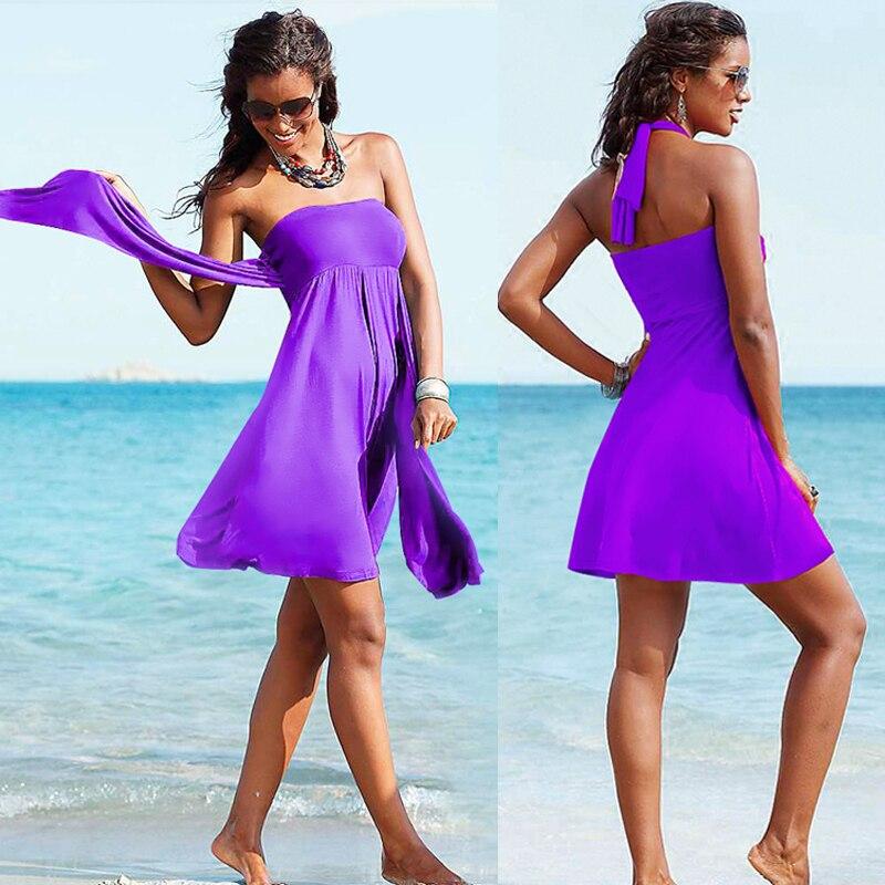Hot Wholesale Popular Multi - Wear Women Beach Dress 2019 Vintage Feminine Convertible Crochet Beach Cover Ups Drop Shipping