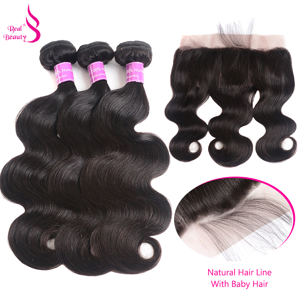 Real Beauty Lace Frontal Closure With Body Wave 3 Bundles Brazilian Human Hair Bundles With 13X4 Lace Closure Non-Remy Hair