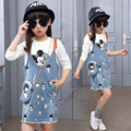 Girls T shirt 2017 new dresses cartoon jeans slip dress 2pcs girls clothes denim strap skirt children clothing set kids clothes