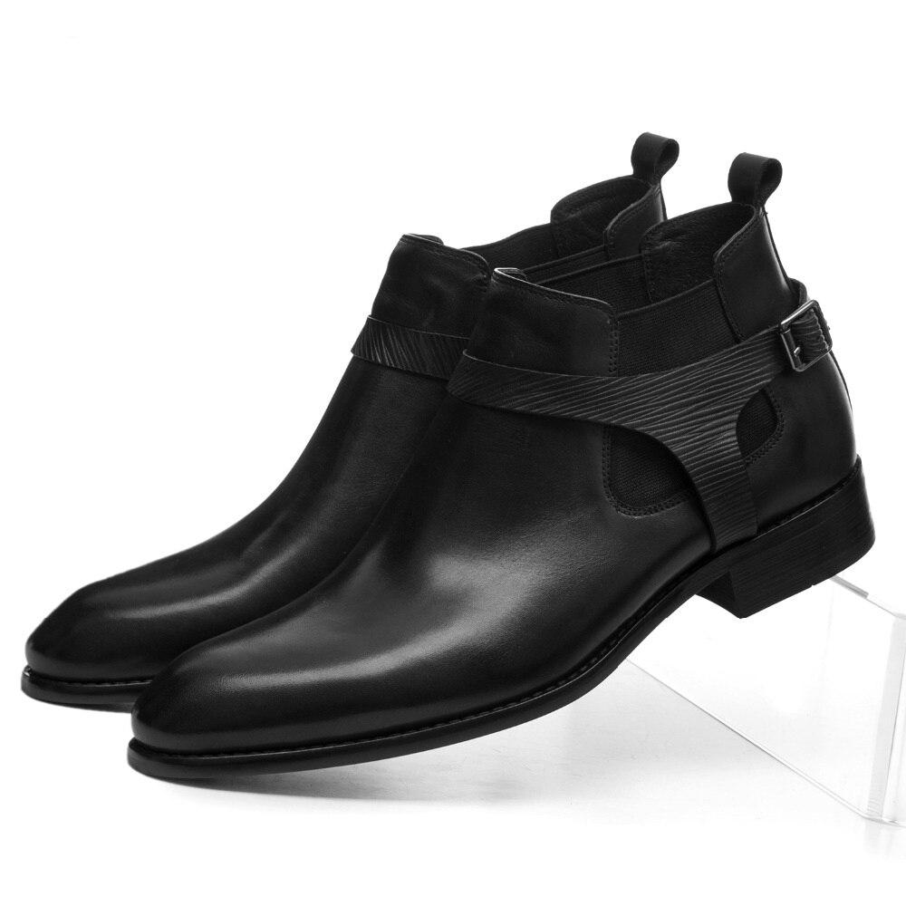 Mada Juoda Vyriški Kaklaraiščiai Tikri odos suknelės batai Rudens vyrų motociklų batai su sagtimi