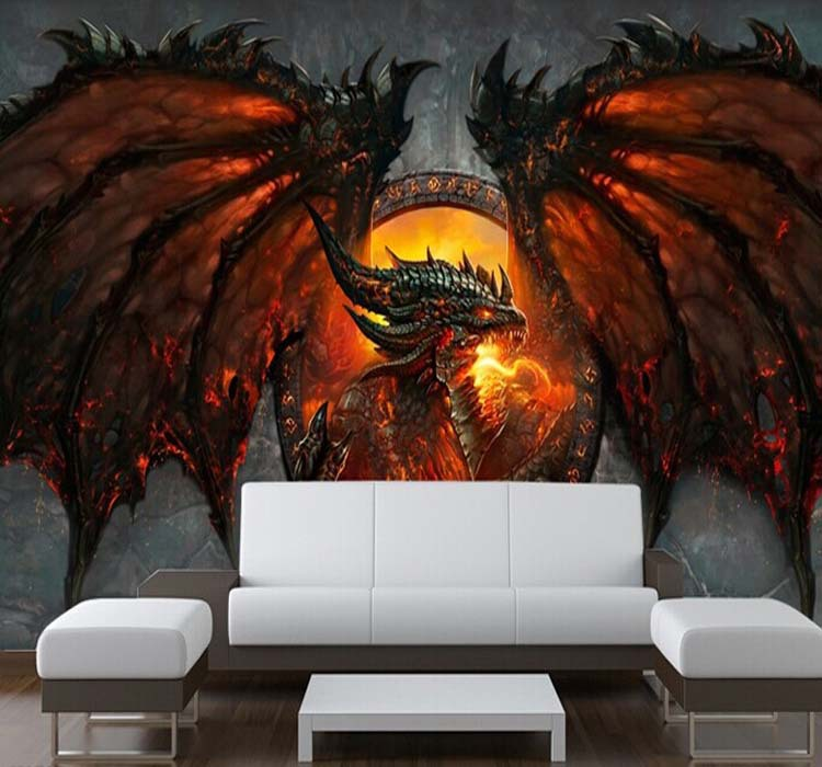 Buy 3d fire dragon photo wallpaper for Chinese dragon mural