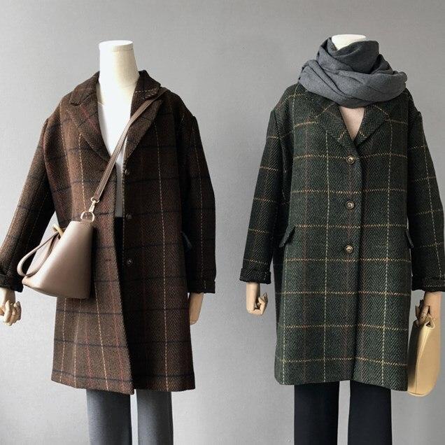 2017 Winter woman long plaid wool coats green England Style brown thick ovresize woolen blends coats