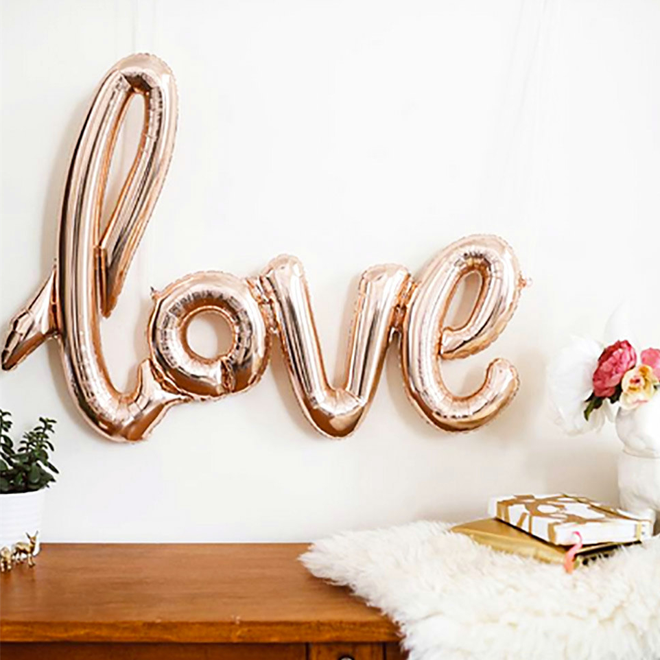 Ligatures love foil balloons 40 rose gold balloons for Decoration maison rose gold