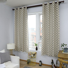 Countryside Tree Print Blackout Curtain Solid Cotton Shading Window Treatment Curtain for Living Room Bedroom Home Decoration