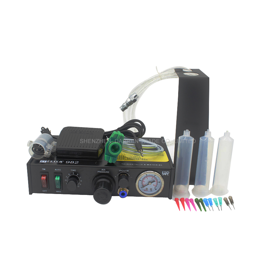 High-precision Semi-automatic Glue Dispenser FT-982 Glue Dispenser Solder Paste Liquid Controller Dropper Fluid 110V/220V 1pcs ds 982 ds982 semi auto glue dispenser pcb solder paste liquid controller dropper fluid dispenser 110v 220v