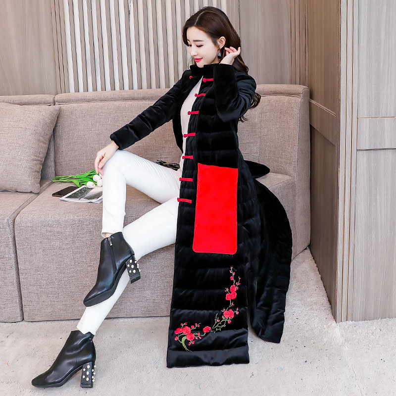 2018 Women's Winter Cotton Suit National Style Long Coat Coat Women's Winter Elegant Dress Costume   Parka   Plus Size 0011