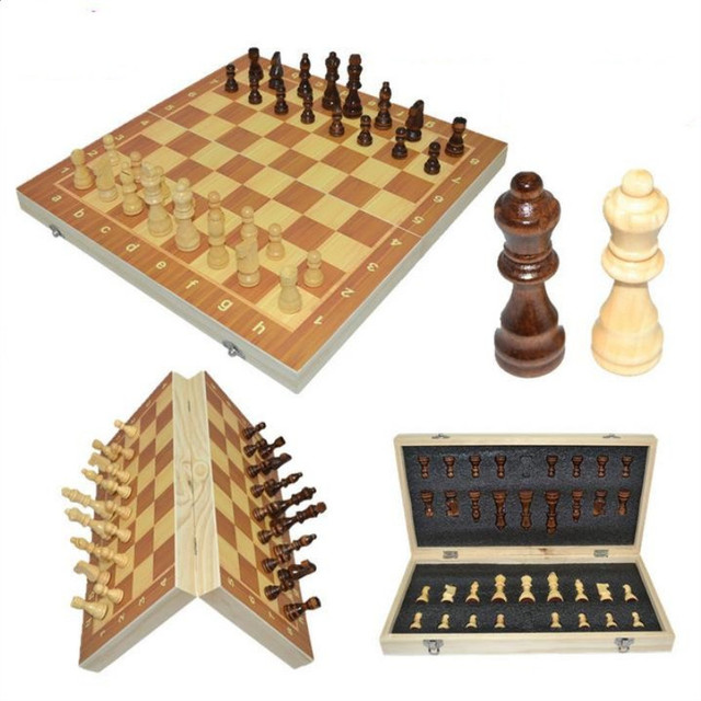 Magnetic Wooden Folding International Chess Set Board Game Puzzle