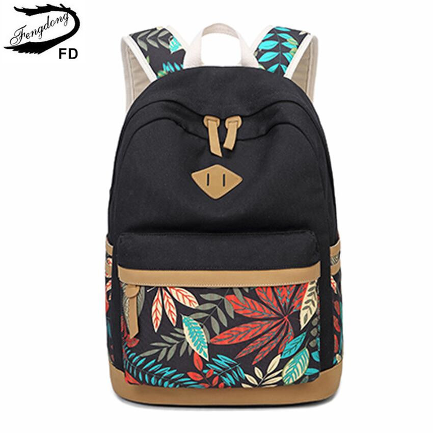 FengDong vintage leaf print canvas school backpack for children school bags for girls child book bag women laptop backpack 14