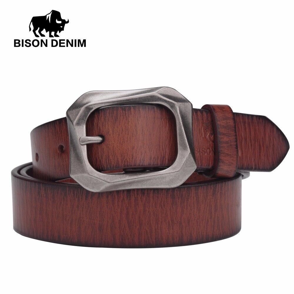 580e516e93a6 BISON DENIM 2017 nouvelle arrivée TOP véritable cuir Femmes ceintures  boucle ardillon ceinture vintage top qualité jean ceintures pour femmes  n60195 dans de ...