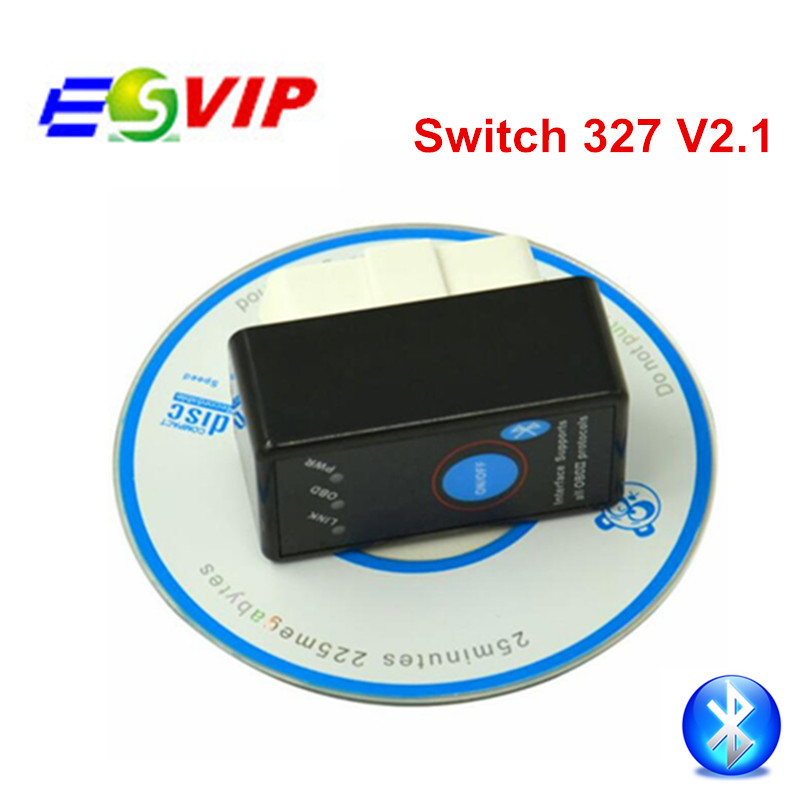 100pcs Hotsale MINI Bluetooth ON OFF Switch ELM 327 V2 1 Tool OBD2 OBDII ELM327 Auto