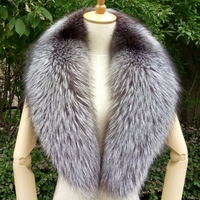 100cm Real Fox Fur Collar Black Fur Scarf Natural Raccoon Silver Fox Fur Scarves Women Winter Warm Thick Long Genuine Fur Scarf