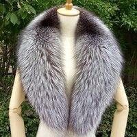 100cm Real Fox Fur Collar Black Fur Scarf Natural Raccoon Silver Fox Fur Scarves Women Winter Warm Thick Long Genuine Fur Scarf