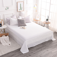 High quality 100% cotton modern style Hotels bedding pure white satin 3 Pcs bed sheet pillowcase Home Textiles 5 Size super soft