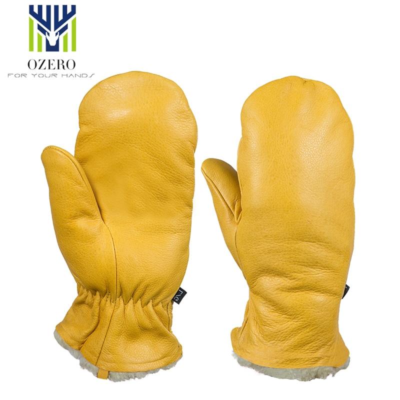 OZERO Goatskin Cashmere Warm Ski Gloves Windproof Winter Cycling Skiing Gloves Snowboard Gloves Unisex Snow Gloves S1030