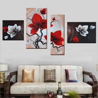 4 Panels Canvas Wall Art Living Room Decoration 100 Hand Painted Red Flowe Oil Painting No