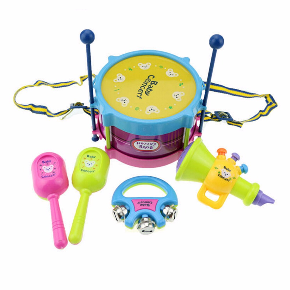 OCDAY Baby Concerts Children Toy Gift Set 5pcs Drum Trumpet Cabasa Handbell Musical Instruments Band Kit Toy Musical Instrument