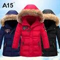 A15 marca caliente al por menor adolescente abrigo de invierno los niños niñas grueso largo abajo chaqueta de Los Niños Niño de Algodón Con Capucha Parkas de Piel 8 10 12 14 Año